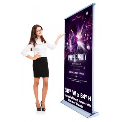 Double Sided Economic Retractable Banner Stand 36 x 80 Stand & Graphic Print